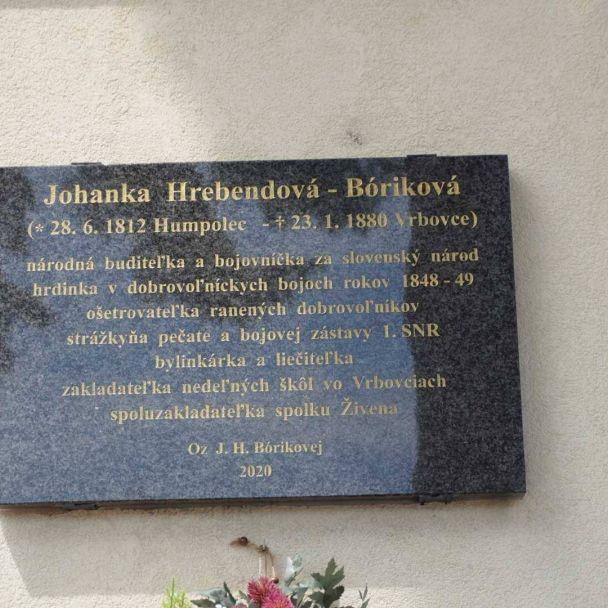 Pamätná_tabula_Johanka _Hrebendova_Bóriková